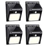 Lavcus 30 LED Luz Solar Exterior Lámparas con Sensor de Movimiento Iluminacion Focos LED Exterior para Jardín Muros Exteriore Patios Terrazas, 4 Piezas [Clase de eficiencia energética A+++]