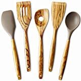 5 Piece Olive Wood Kitchen Cooking Utensils, Silicone Spoon and Spatula, Slotted Turner, Flat Turner, Corner Spoon