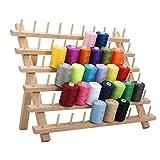 Estante plegable de madera con 60 hilos de bobina, soporte de almacenamiento de madera, organizador de costura, costura, bordado, organizador de bobina y estante, herramientas para coser manualidades