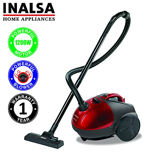 Inalsa Vacuum Cleaner Gusto Pro-1200W with Powerful Blower Function and 1.5L Reusable Cloth Dust Bag, Powerful 16KPA Suction, Lightweight & Compact, (Red/Black)