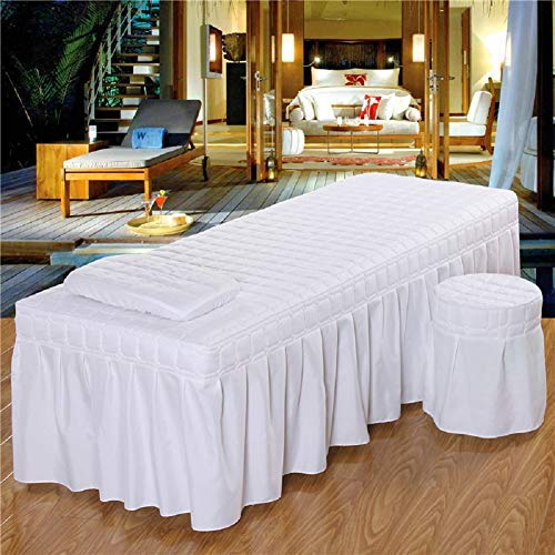 3pcs Set Beauty Salon Massage Table Bed Sheet Skirt Skin-Friendly SPA Bedspread Full Cover with Pillowcase, Stool Cover (White, 180x60)