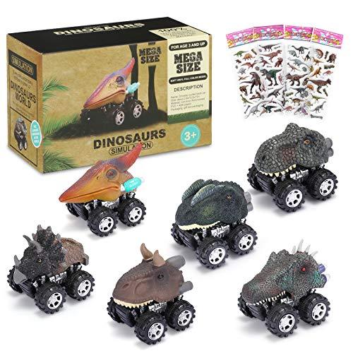 joylink Coches Dinosaurios, 6PCS Pull Back Coches de Juguete de Dinosaurios Realistas Dino Cars Toys Cumpleaños para Niños Juguetes para de 3+ Años