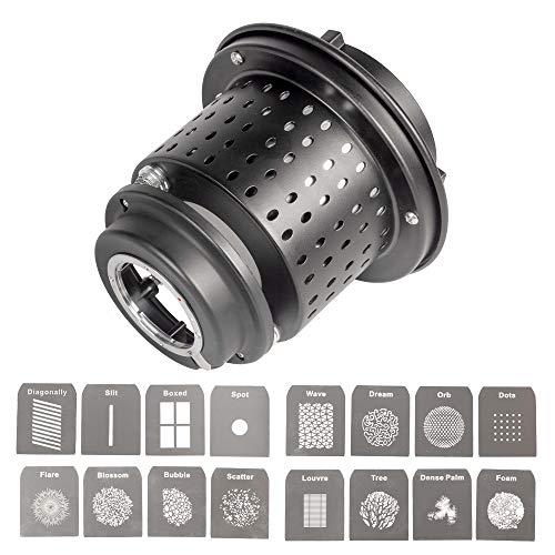 EF/Mount Optical Snoot con 16 diferentes Gobos Kit Modificadores de Iluminación Estudio...