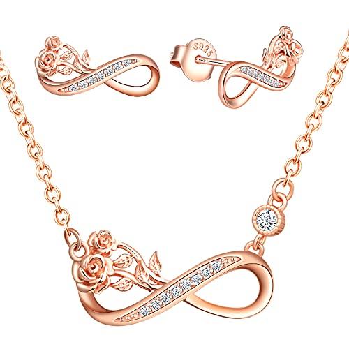 INFINIONLY Collare y Pendientes para mujer, Juegos de joyas de plata 925, collar pendientes de símbolo de infinito, collar pendientes de símbolo de infinito entrelazadas con la rosa, Circón, oro rosa