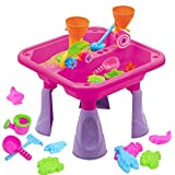 23 Pieces Sand and Water Table Garden Sandpit Play Set Toy Watering Can with Accessories (Pink)