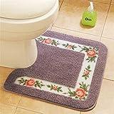 Alfombrillas de baño para baño Baño Mat Conjunto en forma de U Aseo alfombras de piso decoración Alfombra de baño Set estilo pastoral Aseo Alfombra de flores de fibra Patrón WC cubierta de la tapa