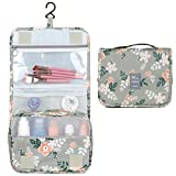 Hanging Travel Toiletry Bag Cosmetic Make up Organizer for Women and Girls Waterproof (Grey Flower)