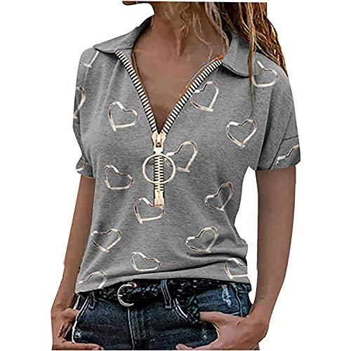 Masrin Mask Damen Tops Casual Revers Kurzarm T-Shirt Herzdruck Pullover Reißverschluss V-Ausschnitt Slim Tunika Bluse(L,Grau6)