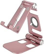 ASHATA Phone Stand Portable, Adjustable Multi-Angle Mobile Cell Phone Bracket Foldable Lightweight Pocket Desktop Holder Stand for iPhone XPlus/7/7 Plus/6,iPad,E-Reader,Tablet(Pink)