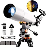 HZWLF Telescopio de Regalo 50080 Telescopios para astronomía Refractor Profesional para Adultos, con trípode de Acero Inoxidable Ajustable Visor de Imagen erecto Alcance Barlow Lente