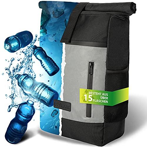 invilus ® - Rolltop Rucksack aus Recyceltem und Stark Reflektierenden Material - [Sicher durch die Nacht] - Für Uni, Sport, Arbeit oder Freizeit - Jetzt Bestellen