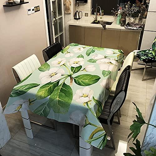 Nappe Chambre Décoration Esthétique Rectangle Couverture De Table Feuilles Vertes et Fleurs Nappe Imperméable A3 140x160cm