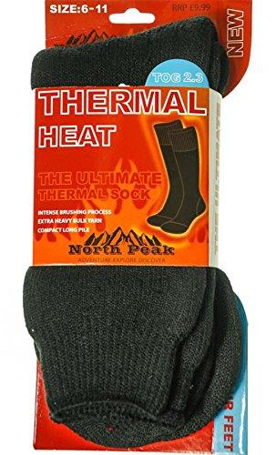 I Luv LTD Thermal Heat Socks In Black North Peak Design Size 6-11