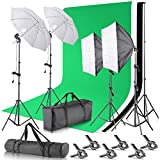 Neewer 2.6M x 3M/8.5ft x 10ft Background Support System and 800W 5500K Umbrellas Softbox Continuous Lighting Kit for...
