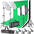 Neewer Equipo de Soporte de Fondo de 2,6x3 Métro con Kit de Iluminación Continua Sombrilla Softbox de 800W 5500K para Fotografia del Estudio Retrato Producto y Vídeo Shooting