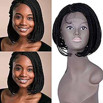 NEWSHAIR 12 inch Short Box Braided Lace Front Wigs Full Braids with Natural Side Bob A-line Half Hand Tied Glueless Braided Wigs for Black Women with Baby Hair for Daily Wear  1B#