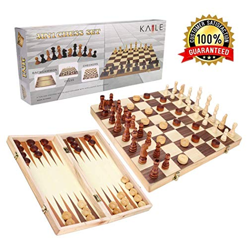 KAILE 3-in-1 Wooden Chess Set & Checkers & Backgammon Set with Folding Carrying Case Folding and Travel Chess Board for Adults and Kids 13 inch