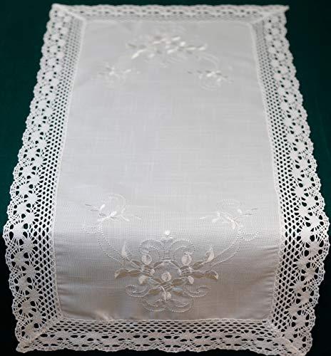 Runner da tavolo, 40 x 90 cm, con orlo cavo, in pizzo bianco all'uncinetto, 40 x 90 cm
