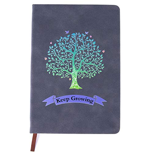 Tree of Life Journals for Women & Men A5 Lined Wide Ruled Writing Personal Diary Notebooks 180° Lay Flat Thick Paper Hard Cover Leatherette 200 Pages(Blue)