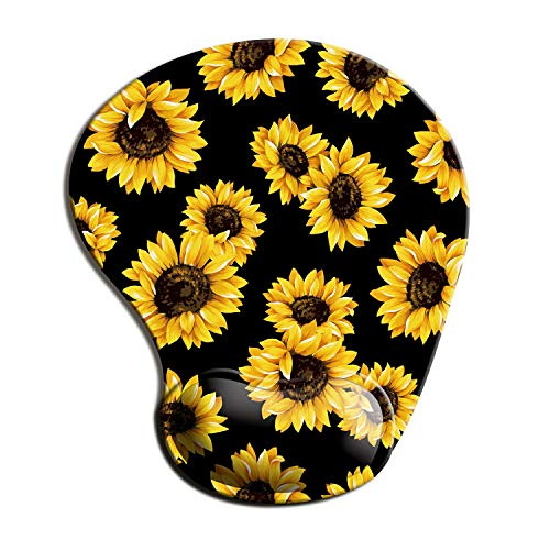 Dooke Ergonomic Mouse Pad with Wrist Support, Cute Mouse Pads with Non-Slip PU Base for Home Office Working Studying Easy Typing & Pain Relief Sunflower