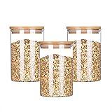 DPPD Frascos herméticos de Almacenamiento de Vidrio de borosilicato Tapas de Madera, recipientes Transparentes con Tapas herméticas, frascos sellados al Aire para Galletas de Caramelo de té de ha