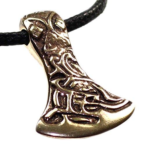 Anhänger Axt (Wikinger Kelten) Talisman mit Ornamenten verziert aus Bronze, ca. 35 x 23 mm, Kettenanhänger Amazonenaxt