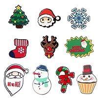 ロングティアンティアン クリスマスブローチピン 10個 レディース ガールズ かわいらしいサンタクロースツリー キャンディ アクリルピン キッズパーティーバッジ 衣類バッグ バックパック用