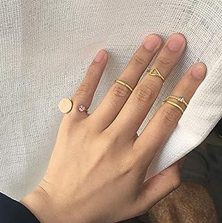 BERYUAN المرأة 5 قطع الفضة الذهب بسيطة بوهو المفاصل مجموعة خمر المفصل المفصل الدائري مجموعة للنساء والفتيات المراهقات
