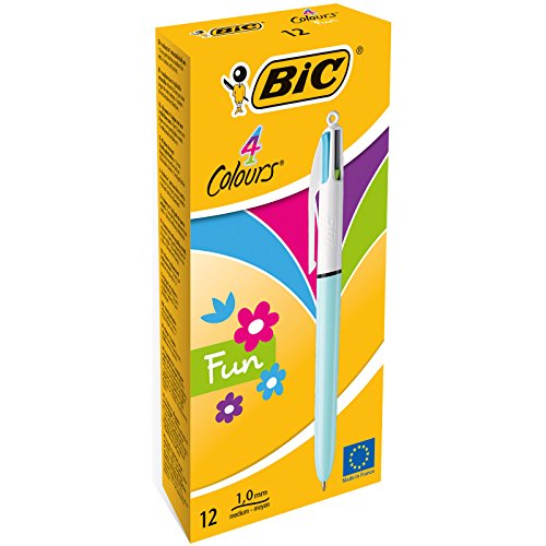BIC 4 colores Fun bolígrafos Retráctiles punta media (1,0 mm) – Celeste Pastel, Caja de 12 unidades