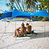 Flamount Beach Canopy, Outdoor Pop Up Canopy Tent Beach Shade Sun Shelter UPF50+ with Sand Shovel for Party, Beach, Camping Trip, Backyard, Fishing or Picnic (7×7 FT 4 Pole, Blue)