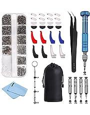 Vastar Reparatieset voor bril, 9-in-1 magnetische brillenbril, schroevendraaierset, oorhaken, neuskussens, pincet en brillendoek/tas, voor bril, zonnebril en horloges reparatie
