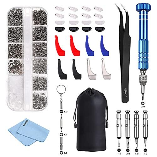 Vastar Kit de Reparación de Gafas - Viene con Un Destornilladores, Pinzas y Almohadillas para la Nariz, Una Herramientas Movil Adecuada para Reparar la Mayoría de las Gafas