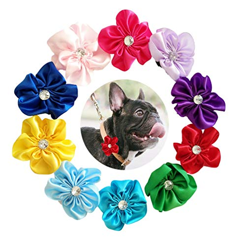 JpGdn 10pcs 2' Pet Collar Bows Flowers for Small Dogs Doggy Cats Wedding Birthday Party Collars Accessories