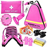 THINKWORK Car Emergency Kit for Teen Girls and Lady's Gifts, Pink Emergency Roadside Assistance Kit with 10FT Jumper, First Aid Kit, LED Flare, Deer Whistles, and More Ideal Pink Accessories Tool