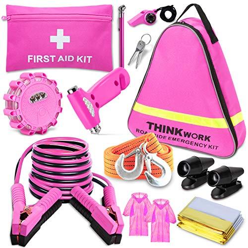 THINKWORK Pannenset Auto Rosa Auto Notfallset Pannenhilfe Kit Mit 10 FT Jumper, Erste-Hilfe-Kit, LED-Fackel, Hirschpfeifen und einem idealeren Werkzeug für rosa Zubehör Geschenk für Dame