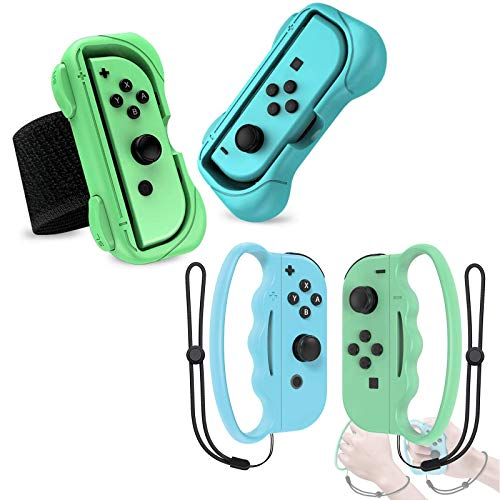 Accessories Set for Nintendo Switch Controller Game, Includes 2 in 1 Wrist Bands for Just Dance 2021 2020 2019, Boxing Grip for Fitness Boxing 1&2,Grips for Joy-Cons Controller,for Adults and Children