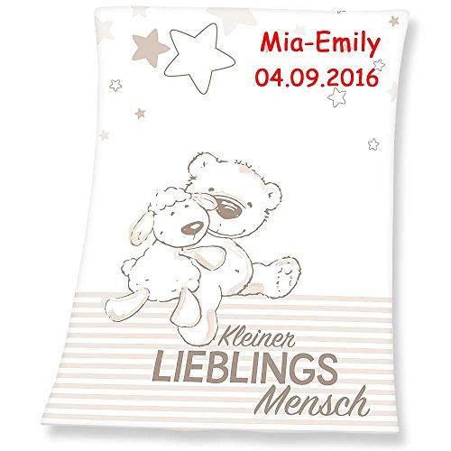 SL-Store GbR Babydecke mit Namen Bestickt Decke 75x100 cm Geschenk zur Taufe zur Geburt Kinderdecke Drache Bär Schmetterling Hase (Lieblingsmensch)