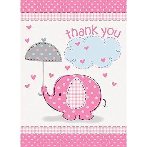 Pink olifant baby douche Thank You kaarten, 8 stuks