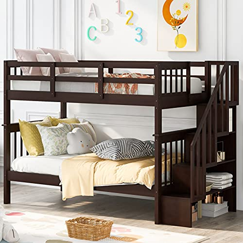 Twin Bunk Beds with Stairway, Full Length Guardrail Wood Bunk Beds for Kids (Espresso (no Trundle), Twin Over Twin)