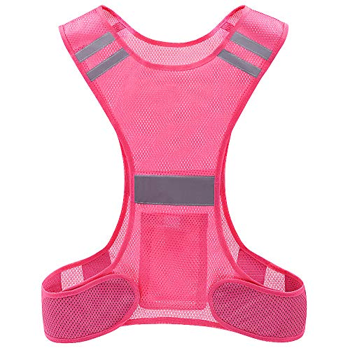 Chaleco de alta visibilidad, chaleco Hi Viz, chaleco reflectante de seguridad con bolsillos para correr bicicleta Ciclismo Caminar. (rosado+2band) (rosado)