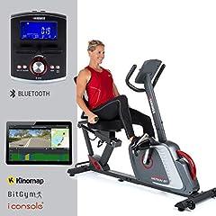 HAMMER leżący ergometr Comfort Motion BT, Wygodny rower fitness z wygodnym siedziskiem Ergo & oparciem zdrowia, Bluetooth i sterowaniem aplikacją, 22 programy treningowe, 160 x 52 x 110 cm