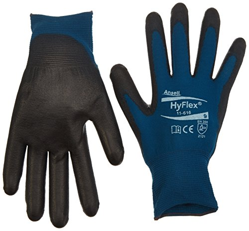 Ansell HyFlex 11-616 Mehrzweckhandschuhe, Mechanikschutz, Schwarze, Größe 9 (12 Paar pro Beutel)