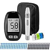 Glucosio nel Sangue Kit Aggiornamento 2021 Misuratore di Glicemia Diabetes Test Kit Trasmissione Dati tramite MicroUSB Avviso di Ipoglicemia e Chetoni con 50 strisce e 50 lancette mg/dL