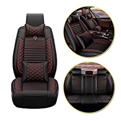 Car Seat Covers for BMW 1 Series F20 F21 E81 E82 E87 E88 116i 118i 125i M135i M140i,5-Seat Full Protection PU Leather Front Rear Seat Pad Protector All Season Protetion Full Set Easy Install Good design: Edge wrapping design for car seat, full car se...