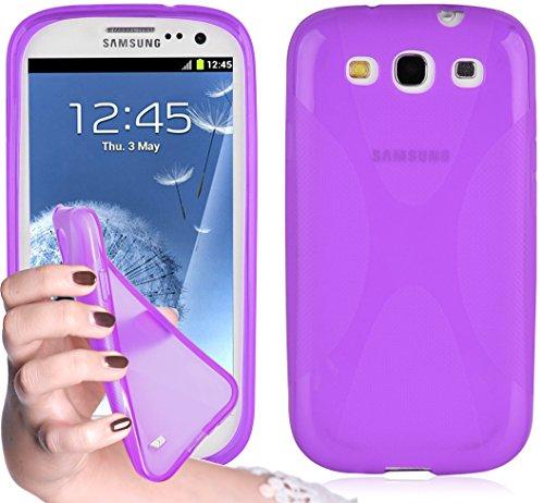 Cadorabo Hülle kompatibel mit Samsung Galaxy S3 / S3 NEO Hülle in Flieder VIOLETT Handyhülle aus flexiblem TPU Silikon im X-Line Silikon Schutzhülle