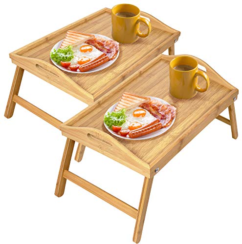 Greenco Bamboo Foldable Breakfast, Laptop Desk, Bed Table, Serving Tray-2 Pack