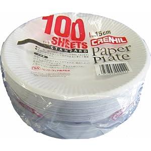スタンダード紙プレート 15cm 100枚入