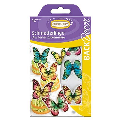 12 Günthart BackDecor Tortenaufleger Schmetterlinge | aus Dekormasse | essbar | für Cupcakes und Torten