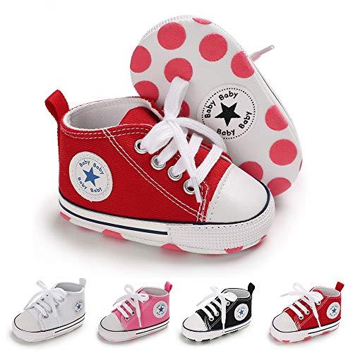 BiBeGoi Niemowlę niemowlę chłopcy dziewczęta płócienne trampki wysokie góry sznurowane łóżeczko obuwie na co dzień dla noworodka pierwszy chodzik buty do chodzenia, A02 Czerwony, 6-12 Miesiące