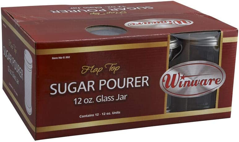 G-302 12-Ounce Glass Sugar Pourer with Wholesale Steel Max 69% OFF Stainless Flap Top